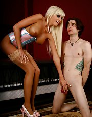 Rikki Six has her pussy worshipped by her sissy slave